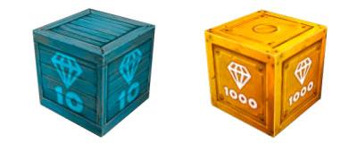 Новые ящики золотых (голдов) и простых (дропов) кристаллов